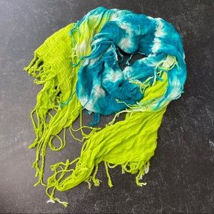 Calypso Green and Blue Tie Dye Fringe Scarf